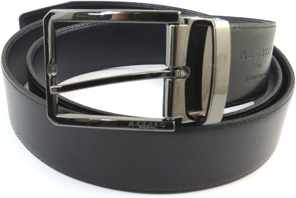Leather belt Azzaronavy black 43.31 35 mm 1.38 . 110 cm
