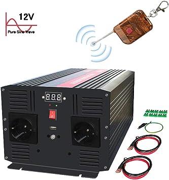 Yinleader Spannungswandler 2500W 12V 230V Reiner Sinus Wechselrichter Power Inverter mit 2 Steckdose 1 USB und 2 LED Display