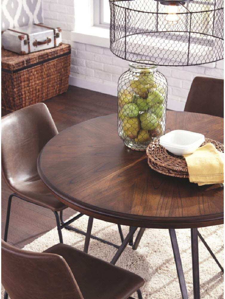 Ashley Furniture Signature Design - Centiar Dining Room Table - Mid Century Modern Style - Round - Rustic Brown by Signature Design by Ashley (Image #4)