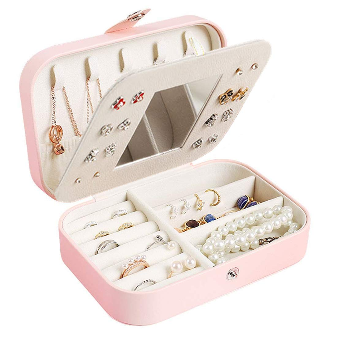 Pendientes para Mujer Pulseras Collares Yolistar Caja Joyero Peque/ña de PU Joyero Viaje Cajas para Joyas Jewelry Organizer para Mujer para Anillos Joyero de Viaje Port/átil