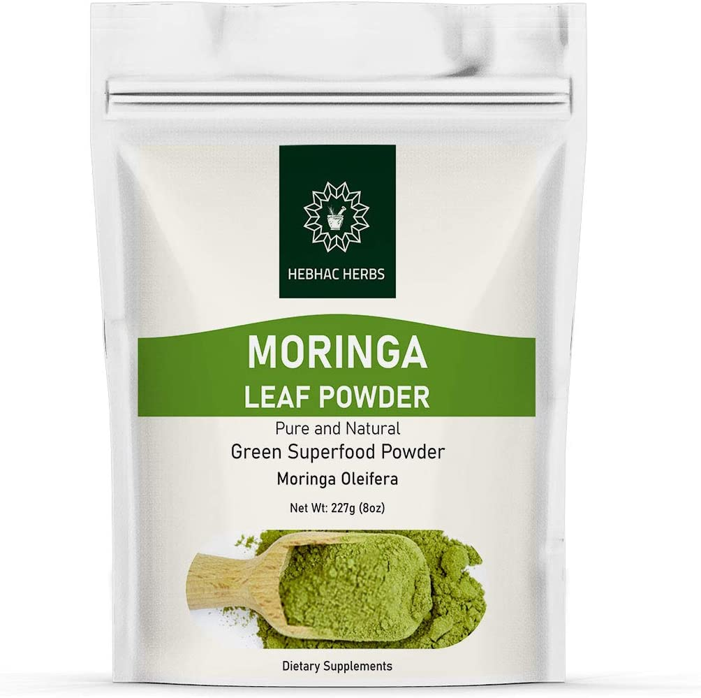 Organic Moringa Powder 8 Oz - by Hebhac Herbs Green Superfood Vegan Raw Nutrition - Rich in Natural Antioxidants   Moringa Oleifera Powder   Multi-Vitamin(8 oz)