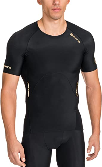 FREE POSTAGE Skins Compression A400 Youth Short Sleeve Top Black // Yellow