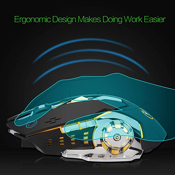DZ-YJQ Wireless Mouse,2.4G Optical Mouse with USB Receiver,Portable Colorful LED Lights Mouse with 600Mah Lithium Battery for PC,Desktop,Laptop