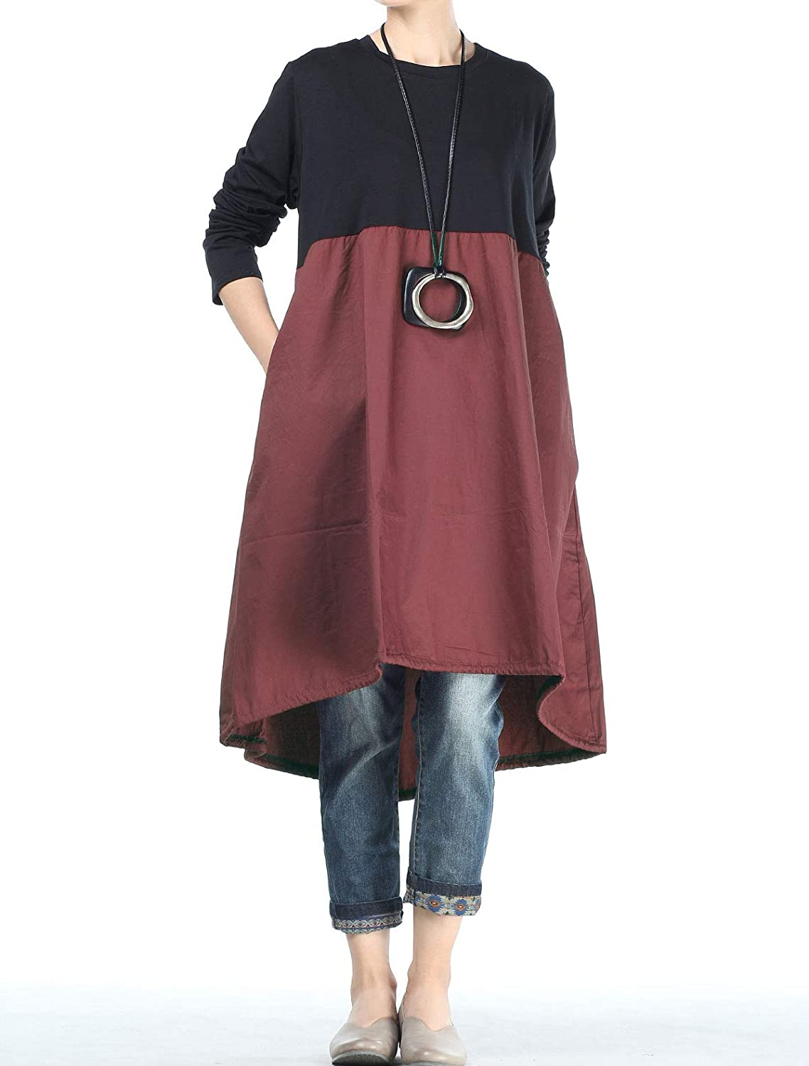 2a6b0a84189 Mordenmiss Women s Asymmetrical Cotton Dress Fall Patchwork Shirt Dress  with Pockets at Amazon Women s Clothing store
