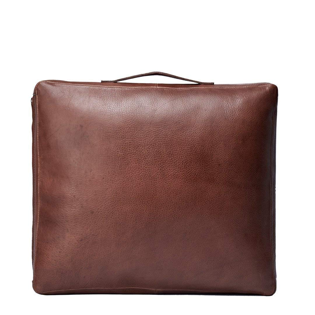 Capra Leather Meditation Cushion for Men, Brown Travel Yoga Pillow Chair, Floor Zafu Bench, Carry Portable Mindfulness Set. Mens Gifts