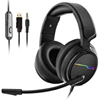 Jeecoo V20 Over the Ear Gaming Headset with Microphone,Volume Control,LED Light Headset for PS4/Nintendon Switch/Xbox…