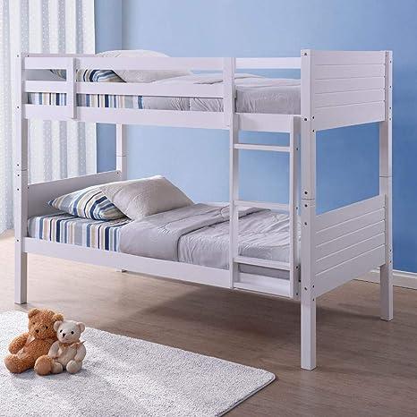Happy Beds Feliz Camas litera de Bedford Blanco Banco de Madera Tradicional 2 x colchones 3