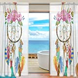 Cheap INGBAGS Bedroom Decor Living Room Decorations Dreamcatcher Pattern Print Tulle Polyester Door Window Gauze / Sheer Curtain Drape Two Panels Set 55×84 inch ,Set of 2