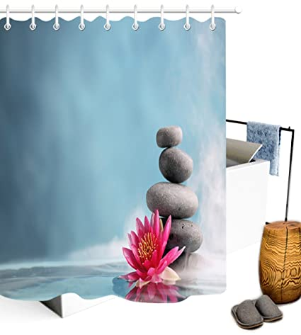 LB Stack Stones Lotus Flower Shower Curtain Set For Bathroom Zen Meditation Massage Spa Print
