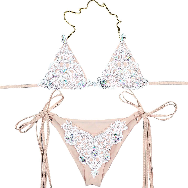 Damen Neckholder Bikinis Crop Top Bademode Badeanzug Strandkleidung Zweiteiligen