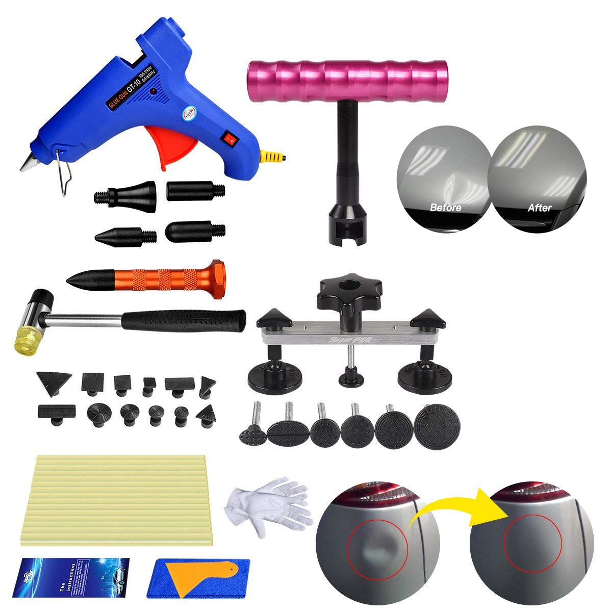 Fly5D 35Pcs Auto Car Dent Repair Dent Remover Puller Tools Kit Hail Damage Refrigerator Stainless Steel Door Dent Ding Tap Down Hammer Repair