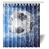 InterestPrint Sports Decor Shower Curtain, Soccer Ball Fabric Bathroom Shower Curtain Set with Hooks, 60x72 Inches Long