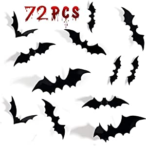 72PCS Halloween 3D Bats Decoration, DIY Scary Wall Bats Wall Decal Wall Stickers 4 Different Sizes Halloween Party Decoration Supplies