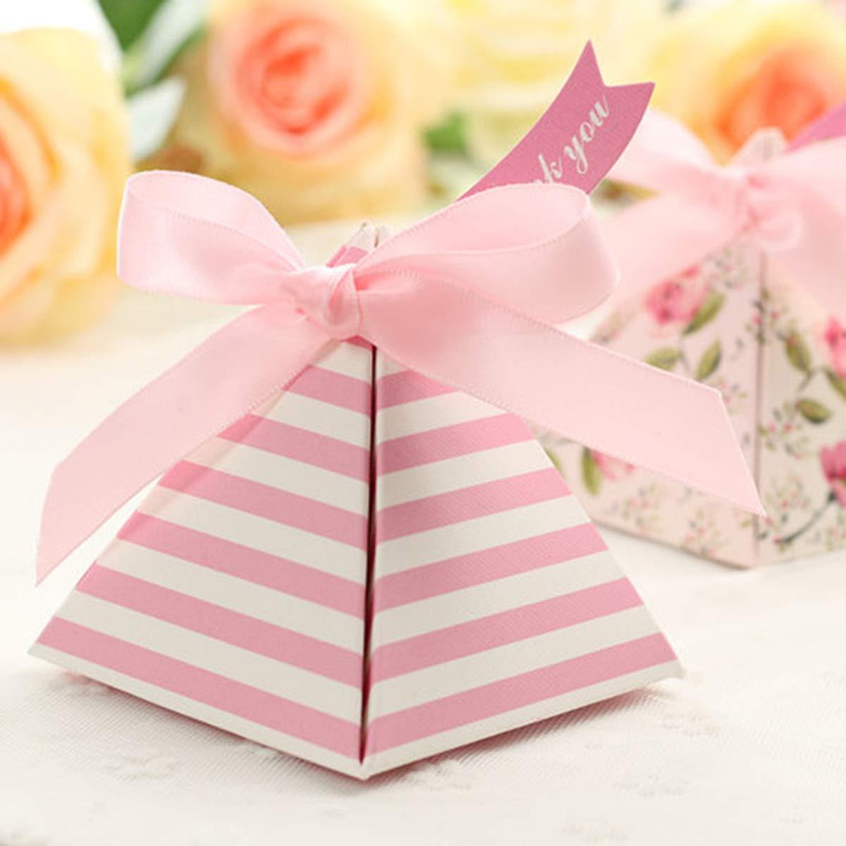 / Toyvian Bo/îte de Cadeau de Papier Rose du Triangle de la bo/îte de Bonbons de Mariage pour Le Festival de la f/ête Mariage /25pcs Rose, avec Les Rubans et Les Cartes