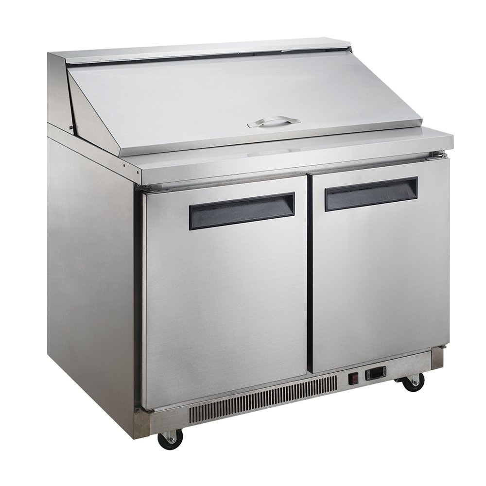 Dukers Appliance USA DUK600162377950 Dukers Commercial Sandwich Salad Prep Table Refrigerator, 2 Door, 57'' Width x 31'' Depth x 44'' Height, Silver, Stainless steel