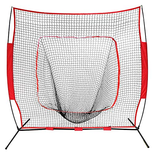 ZENsport 7' x 7' Baseball Softball Practice Hitting Pitching Batting Net with Bow Frame,Carry Bag,Great for All Skill Levels Big Mouth Golf Net
