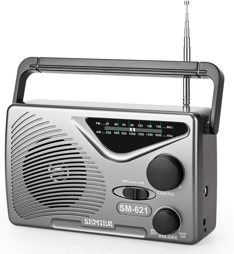 SEMIER AM FM Portable Radio, AC Power or Battery Operated by 2xD Cell Batteries Compact Transistor Radios, Big Speaker, Standard Earphone Jack and Large Knob (Battery not Included)