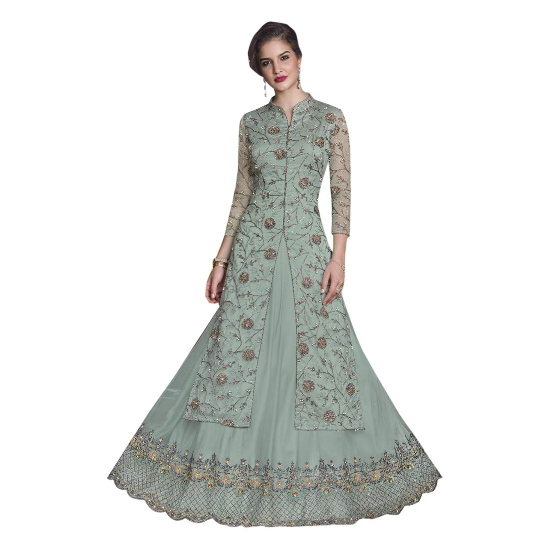 Palebluee Designer Party Skirt style Gown Salwar Kameez suit Dupatta for Women Ethnic Indian Muslim dress 7708