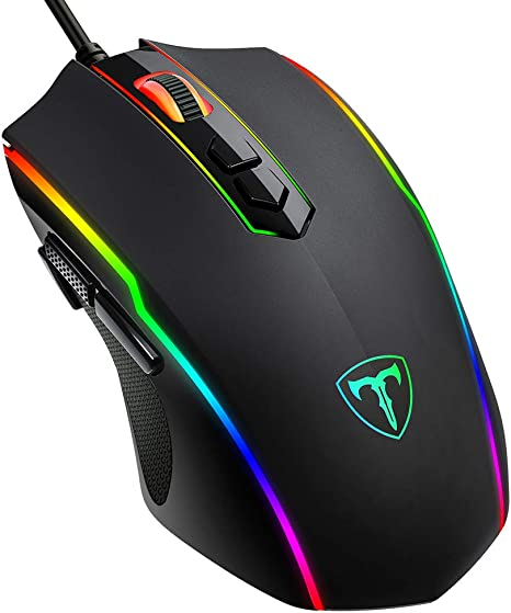 Wired Gaming Mouse Adjustable DPI with Colorful RGB Light Rubber Scroll Mice