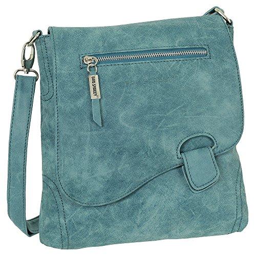 Ledershop24 - Bolso al hombro de cuero de imitación para mujer azul