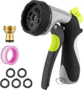 Garden Metal Water Hose Sprayer - 10 Adjustable High Pressure Watering Patterns Hand Nozzle Sprinkler with Attachment 1 Copper Threaded Joint & 5 Washer & 1 Tape for Car Lawn Cleaning