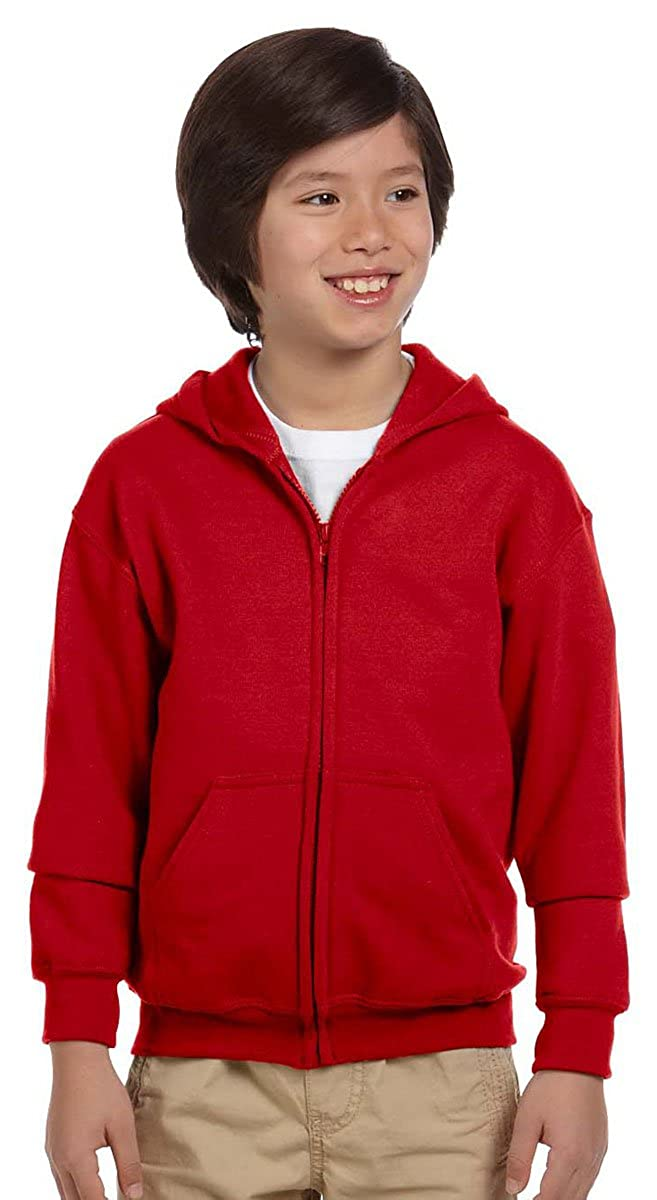 GILDAN Big Boys' Heavy Blend Ribbed Full-Zip Hooded Sweatshirt 18600B