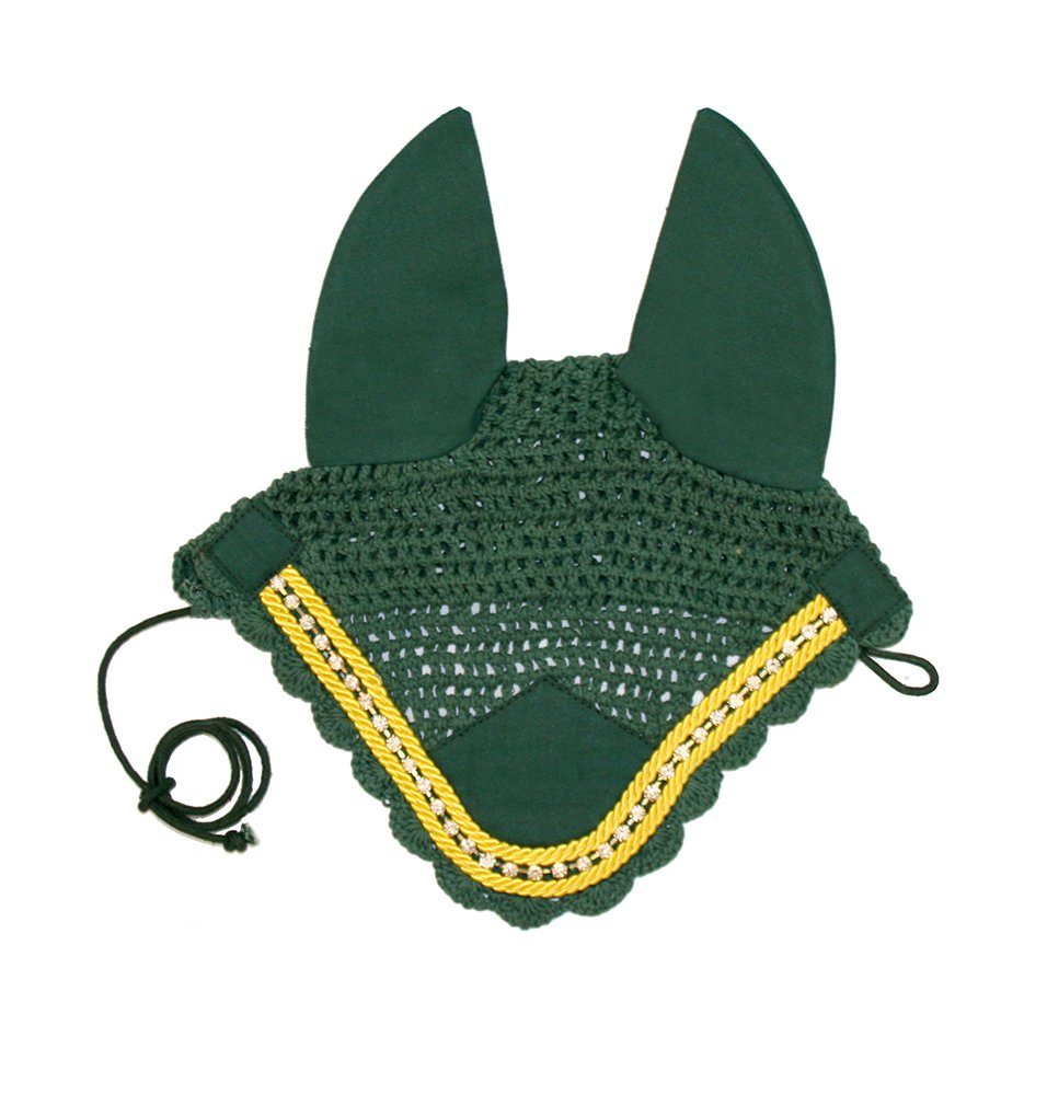 Paris Tack Premium Show Crochet Horse Fly Veil Bonnet with Crystal Brow and Soft Knit Ears - Provides Protection from Insects without Impairing Vision by Derby Originals