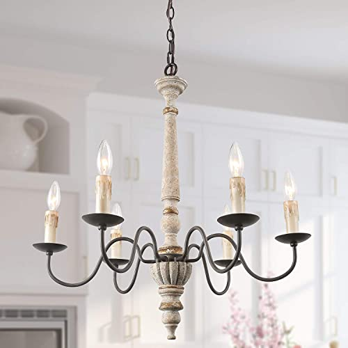 LALUZ French Country Chandelier Farmhouse Handmade Wood Rustic 6 Light Fixture for Dining Living Room, Bedroom, Kitchen and Bathroom, Distressed White