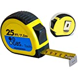TAPE MEASURE 25 FT in Metric and Inches by GBS, Heavy Duty, Retractable, Quick Read, Thumb Lock, Belt Clip, Sturdy Ruler, Bulk Options, Premium Measuring Tape for Professionals and DIY users in Yellow