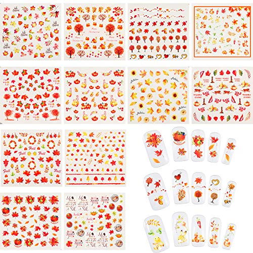 Blulu 12 Sheets Thanksgiving Fall Nail Art Stickers Autumn Maple Leaves Pumpkin Water Transfer Decals Nail and Tweezer for Women Girls DIY Nail Decorations