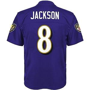 best sneakers 3240b bad04 Amazon.com : Lamar Jackson Baltimore Ravens #8 Youth Black ...
