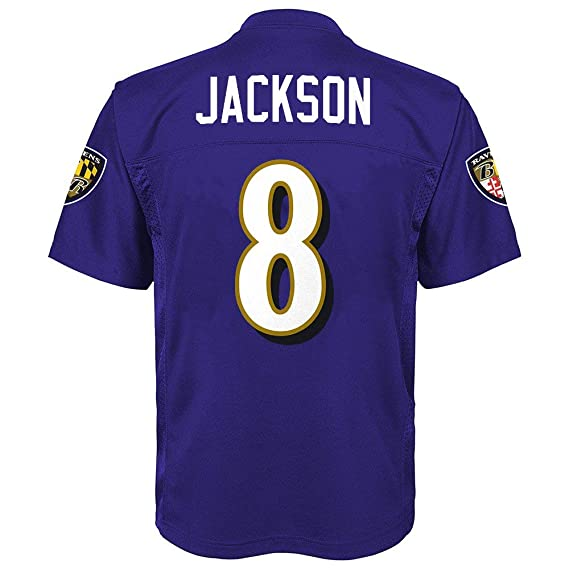 online store 7ac87 808e4 Outerstuff Lamar Jackson Baltimore Ravens #8 Youth Purple Home Mid Tier  Jersey