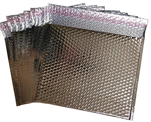 20 Pack Metallic Bubble mailers 7 x 6.75. Silver padded envelopes 7 x 6 3/4. Glamour bubble mailers Peel & Self Sealing cushion packaging mailers. Poly mailing packing wrapping shipping envelopes. by ABC Pack & Supply
