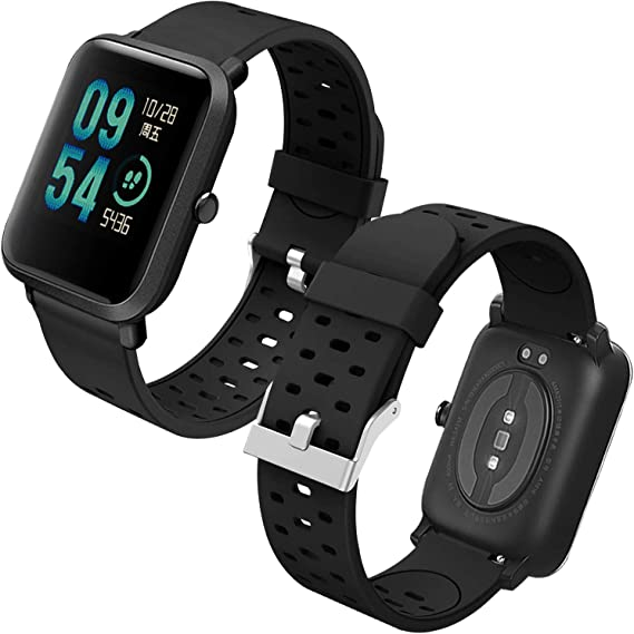 Imagen deTh-some Correa para Amazfit Bip Impermeable Universal - Reemplazo de Pulsera Ajustable para Xiaomi Huami Amazfit Bip bit Lite Youth/Amazfit GTR 42mm Watch, Negro Nuevo Sin Tracker
