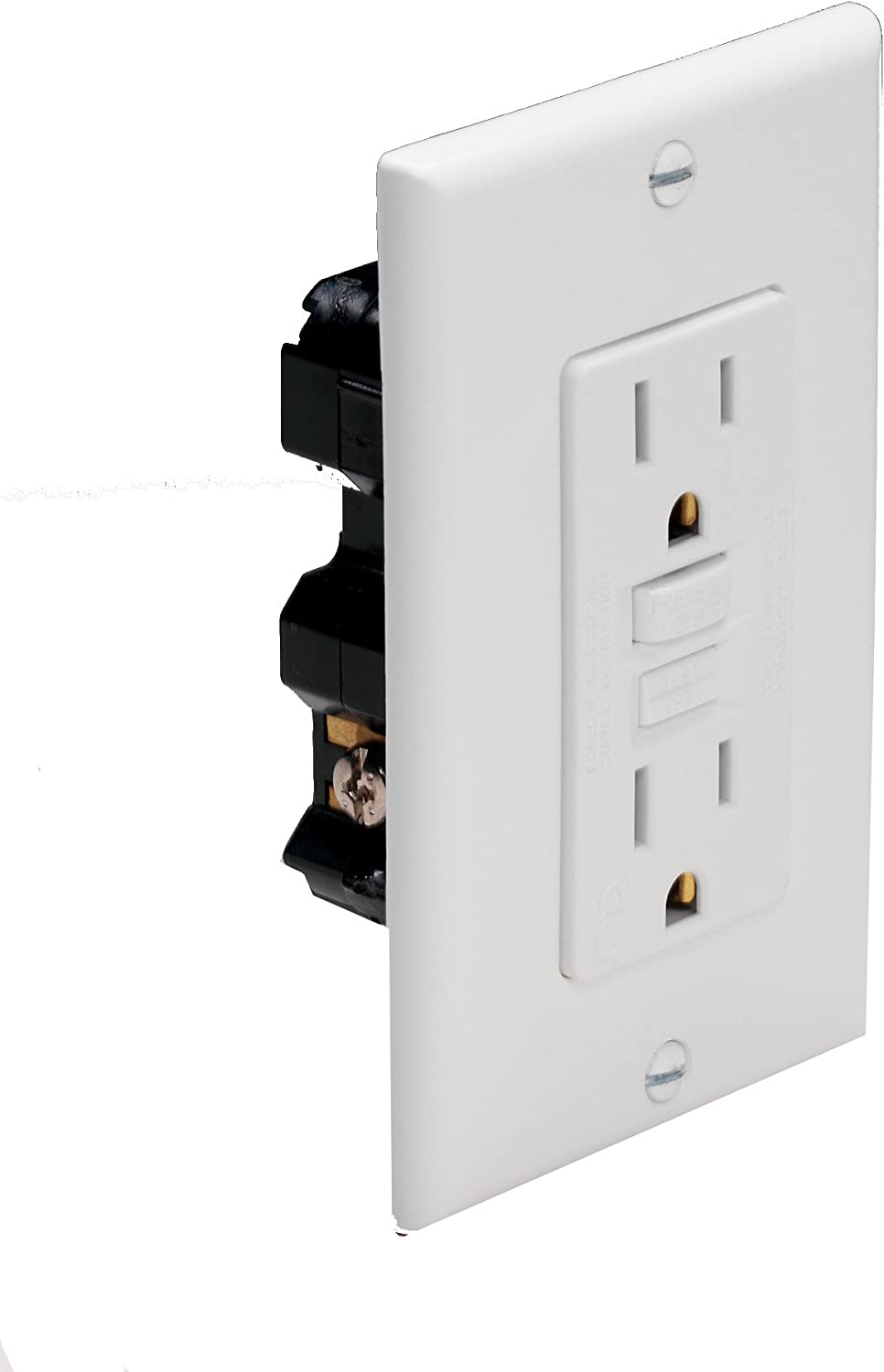 Marinco 5279 15 Amp 125 Volt Flanged Outlet Receptacle Straight Bla