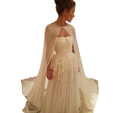 Cape de mariée blanche en mousseline de soie longue robe de mariée mariée  Costume Cosplay Cape  Amazon.fr  Vêtements et accessoires 9c6cb32e130