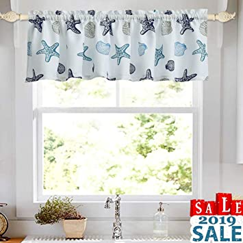 Oremila Kitchen Curtain Valance 54 X 15 Multicolor Starfish Seashell Conch Window Valance For Kitchen And Bathroom Rod Pocket Blue