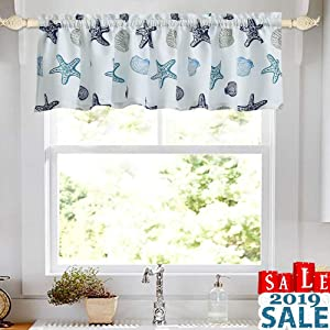 "oremila Kitchen Curtain Valance Multicolor Starfish Seashell Conch Window Valance for Kitchen and Bathroom, Rod Pocket, 54"" x 15"", Blue"