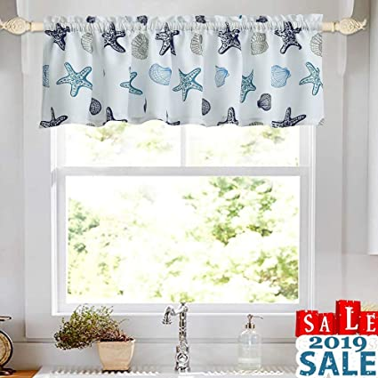 Amazon Com Oremila Kitchen Curtain Valance Multicolor Starfish