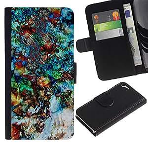 Billetera de Cuero Caso Titular de la tarjeta Carcasa Funda para Apple Iphone 5 / 5S / Art Painting Floral Psychedelic / STRONG