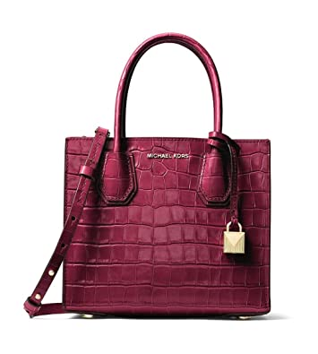 43a7eeba331da Image Unavailable. Image not available for. Color  MICHAEL Michael Kors  Mercer Embossed-Leather Crossbody in Mulberry