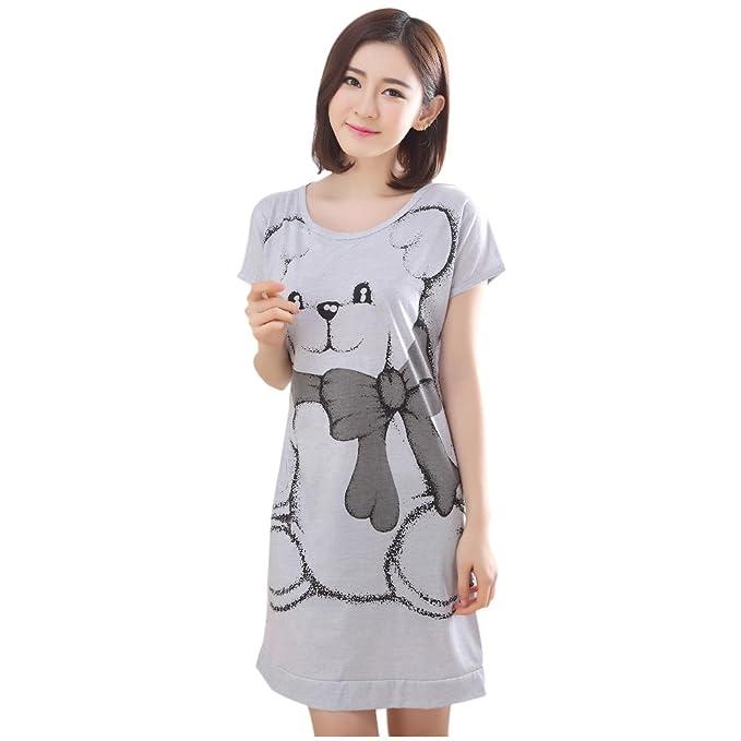 ACEFAST INC HUAYI Women\'s Short Sleeve Loose Bear Nightgowns Girls ...