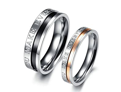 Couple Rings Titanium Rings Personalized custom engraving services Free  Engraving Rings Men Ring Women Ring His and Her Promise Ring Sets(You make  everyday ... 62e87d2cc