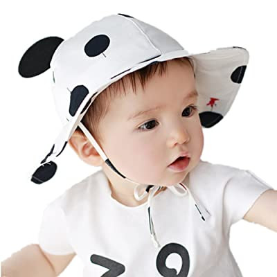 2016 Dots Ears Wide Brim Cotton Photography Summer Style girls boys Infant Newborn baby sun protection Bucket hat caps for 3-6-12 months