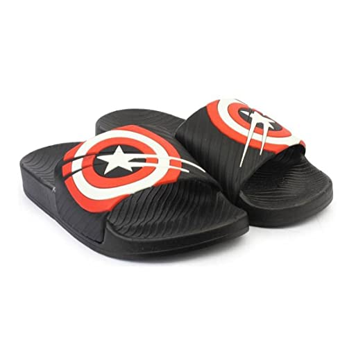 d11acaa2d9da INF Men s Black Rubber Captain America Slider Flip Flops - 7 UK  Buy ...