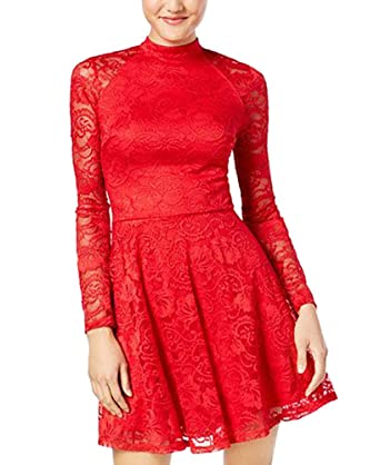 Image Unavailable. Image not available for. Color  Material Girl Juniors   Mock-Neck Lace Skater Dress ... 09770ae54