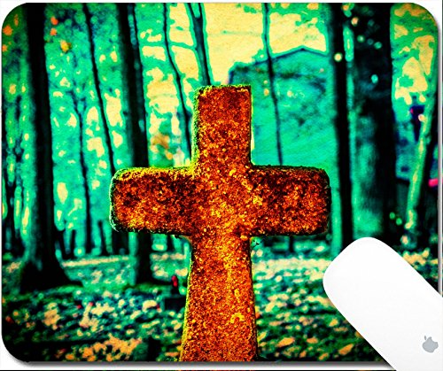 Luxlady Gaming Mousepad 9.25in X 7.25in IMAGE: 33228465 Old and forgotten cross gravestone in dark mystical cemetery for $<!--$9.98-->