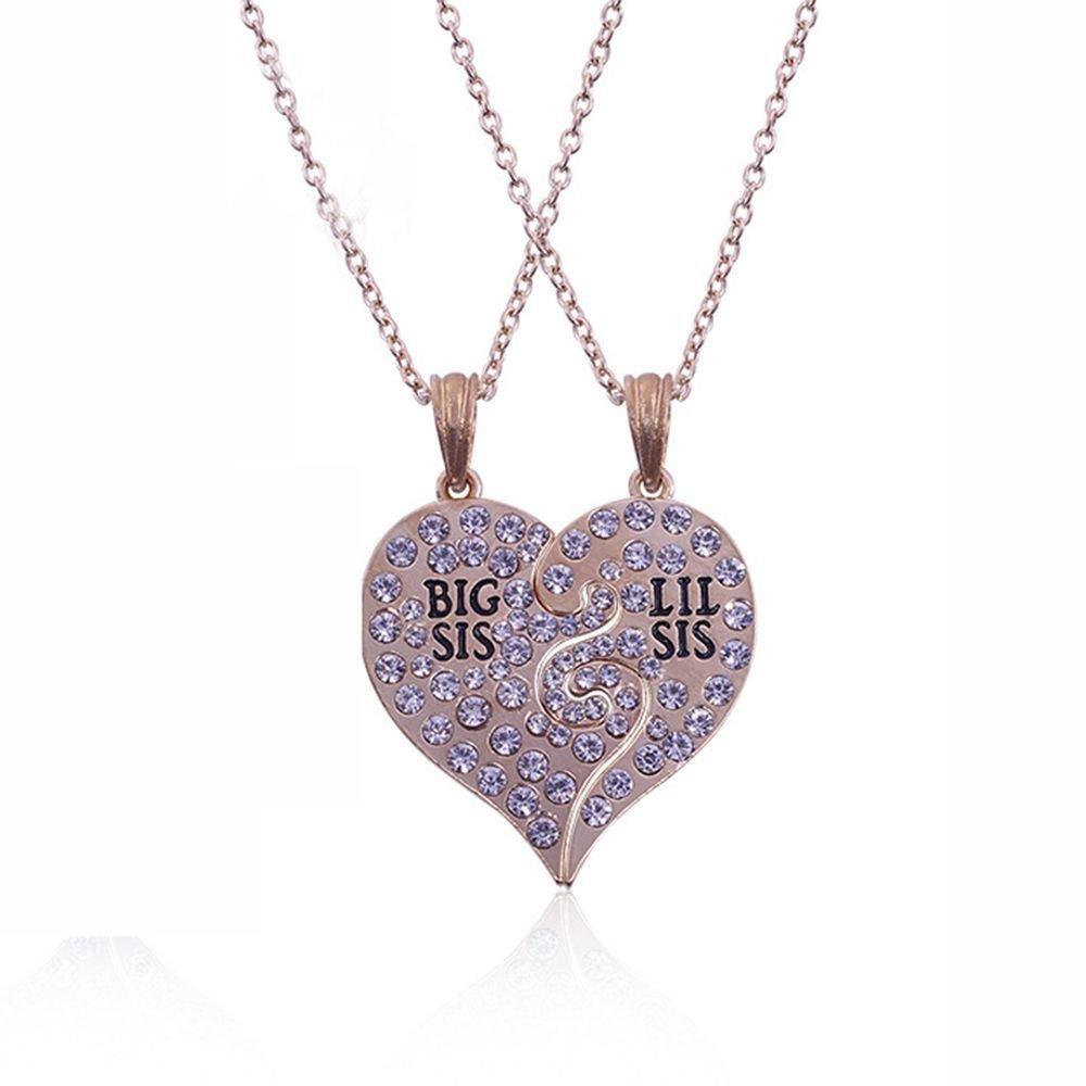 TenDollar Sis Pendant Big Sis Gift Heart Pendant Necklace 2 Pcs Sister Gift Broken Heart By TenDollar (Gold)