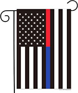 N/P Thin Blue Red Line Police Firefighter Garden Flag- Double Sided Blue Red Stripes American Yard Flags Banner Honoring Law Enforcement Officers and Firefighter Flags 12.5 x 18 Inch