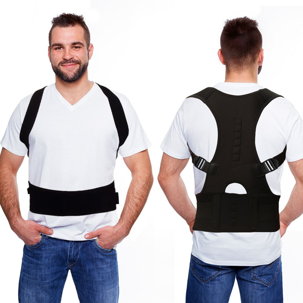 Remedy Health Spine Support Posture Corrector for Men | Padded and Lined with Pressure Point Targeting Magnets for Extra Support Comfort and Spinal Stress Relief [Black]